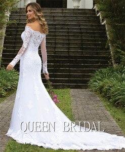 Image 4 - Custom Made 2020 New Design Trouwjurken Mermaid Sweetheart Lange Mouwen Tulle Lace Kralen Eenvoudige Sexy Bruidsjurken CO34