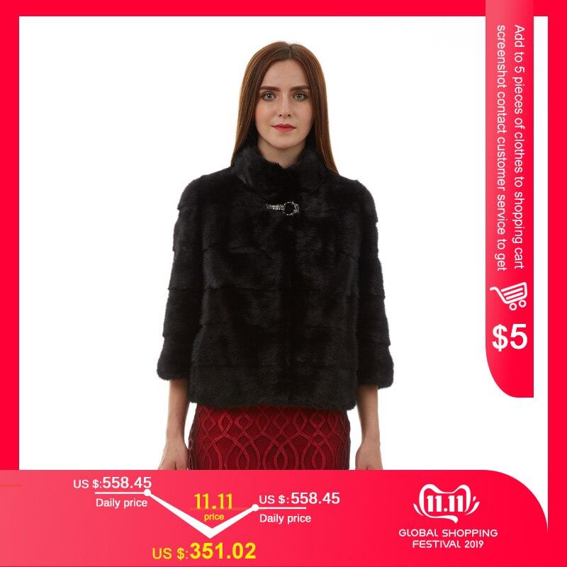 Natural casaco de pele feminina moda casaco fino casaco de pele de vison de manga curta colete de pele curto genuíno casaco de pele gola mandarim