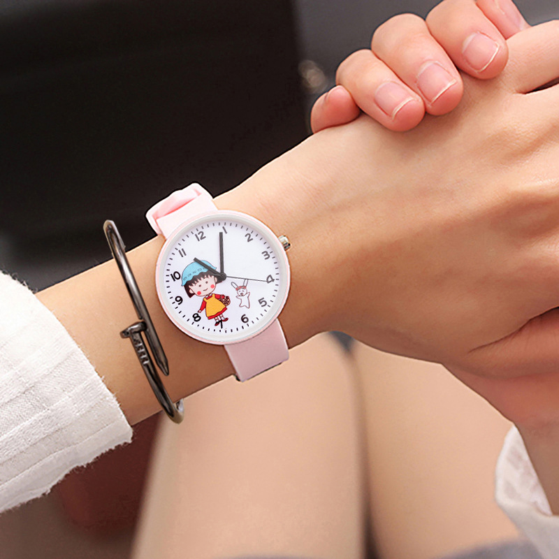 The New Children's Cartoon Cat Jelly Candy Girl Heart Watch Pink Girl Lovely Students