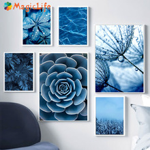 Blue Dandelion foglie inverno wall art canvas painting Nordic Succulents Monstera Leaves pictures for living room unframed