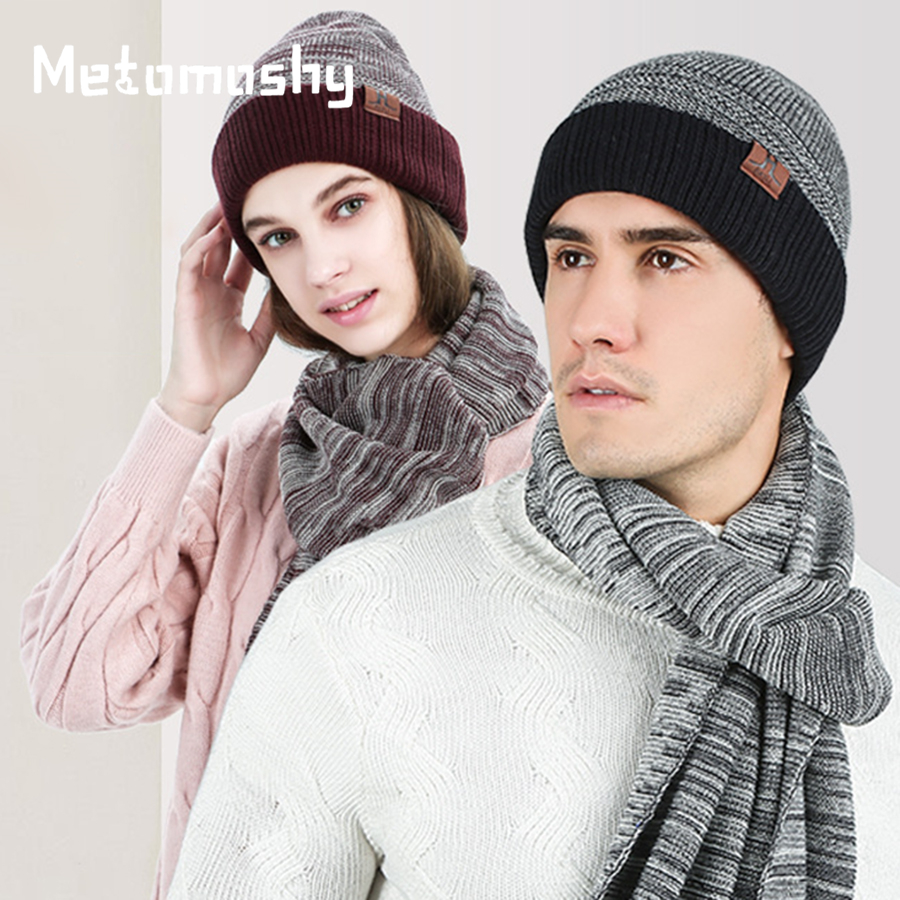 Winter Hat And Scarf Set Women Fashion 2019 New Cotton Warm Knitted Scarves Hat Female Vogue Femme Winter Accessories For Women