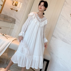 Image 4 - Autumn New Embroidery Lace Princess Nightgown Long Sleeve Woven Cotton Sleepwear
