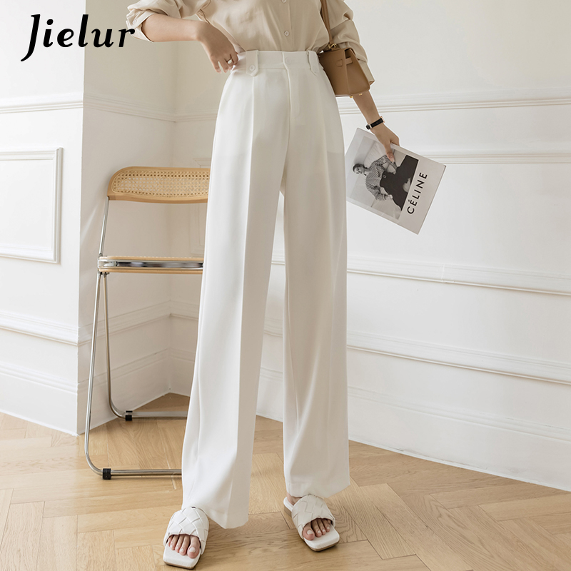 Jielur белые широкие брюки для женщин с завышенной талией с карманами свободные детские штаны Спецодежда Офисные женские туфли женские черные...