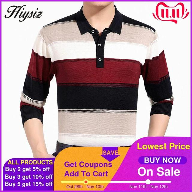 High Quality Cashmere Wool Sweater Men Famous Brand Clothing  Business Fashion Big Striped Turn down Collar Pullover Homme 66127