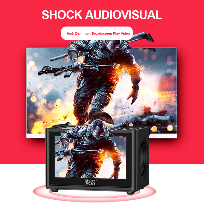 Soaiy K6 Portable Video Speaker Bluetooth Wireless 3d Stereo Outdoor Room Car Clock Lcd Display Fm Radio Support Tf Subwoofer Aliexpress