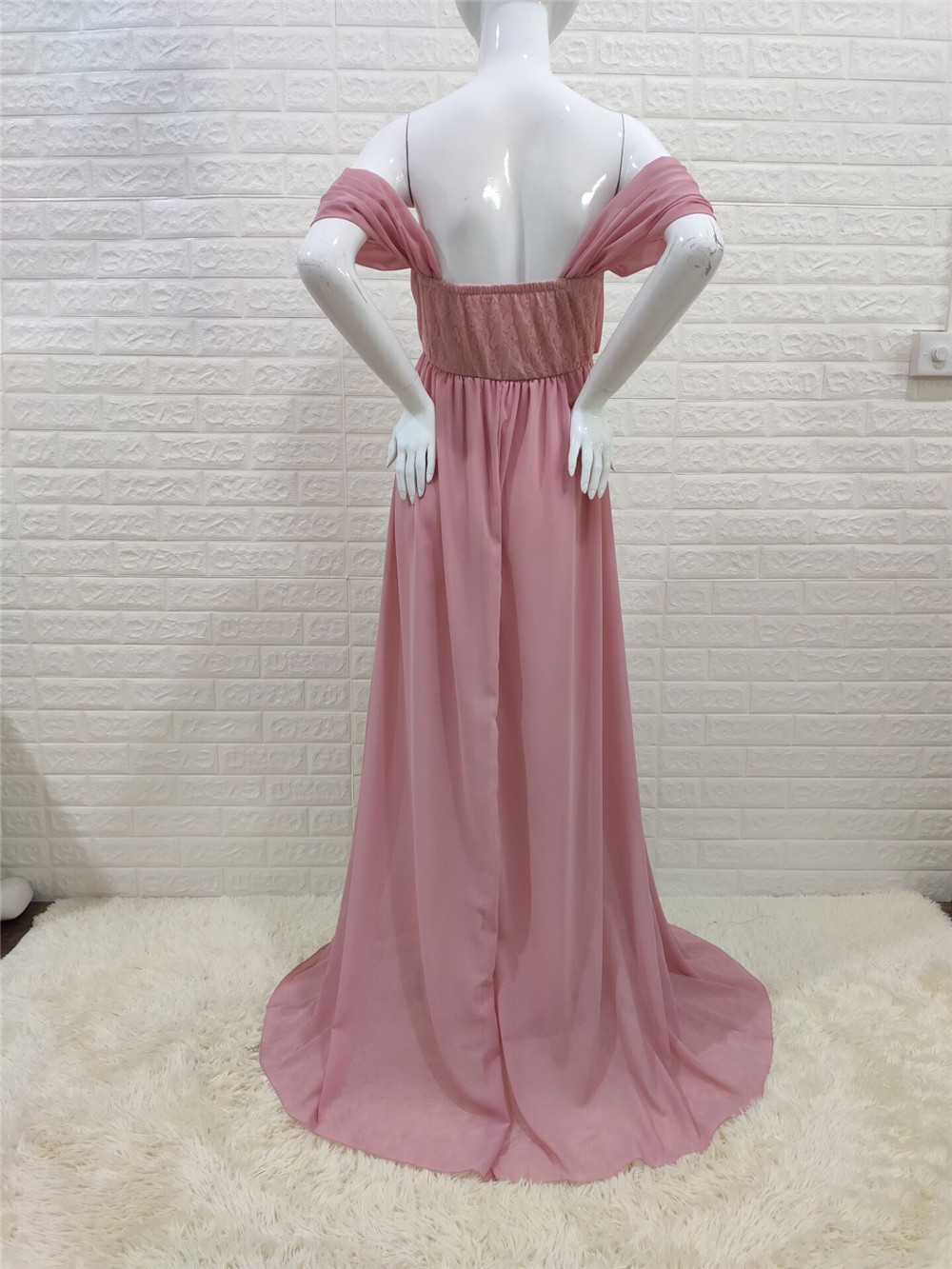 Shoulderless Sexy Maternity Dress Photo Shoot Long Pregnancy Dresses Photography Props Lace Chiffon Maxi Gown For Pregnant Women (22)
