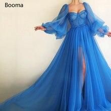 Простое синее платье booma для выпускного вечера с длинными