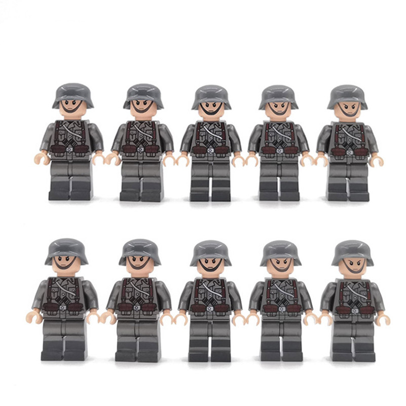 10PCS LegoINGlys Military Swat German Soldier Minifigure WW2 Weapson Bricks Building Blocks Model Toys For Boys Children Gifts