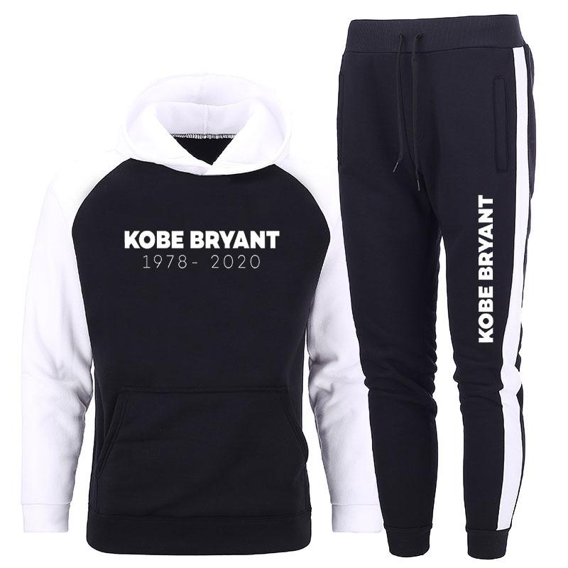 2020 Kobe Bryant Memorial Tracksuit Men Sweatshirt Sets Autumn Winter Street Sportswear Training Student Long Sleeve Hoodies Men