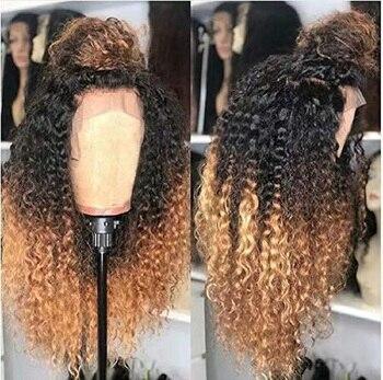 1b/27 parte profunda 13*6 Ombre pelucas de cabello humano brasileño rizado frente de encaje prearrancado Natural Peluca de cabello Remy pelucas de encaje para mujeres