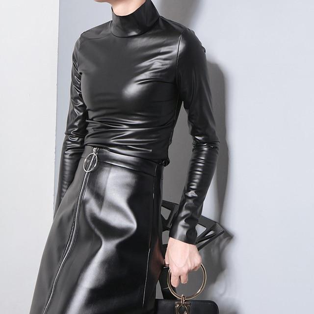 VeryYu Faux Leather Japanese Style Autumn Tee Tops Full Sleeve Harajuku T shirt Fashion  VerYYu