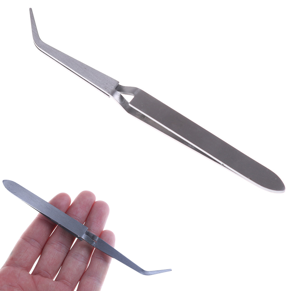 30g 1pc Cross Lock Stainless Steel Reverse Action Tweezer Acrylic Nail Shaping Tweezers Maintenance Tools 15cm