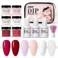 2021 Set di polvere per immersione French White Nude Pink Dip Nail Glitter Powder Pigment per Manicure decorazioni per Nail Art