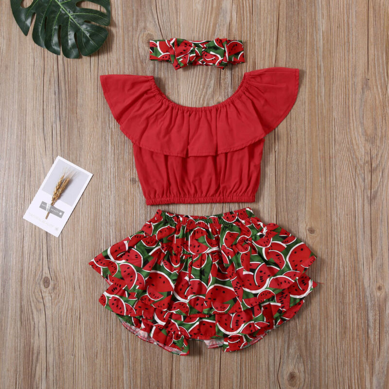 Infant Baby Girls Ruffle Top + Watermelon Shorts + Headband Pants Summer Clothes Set  1-6T