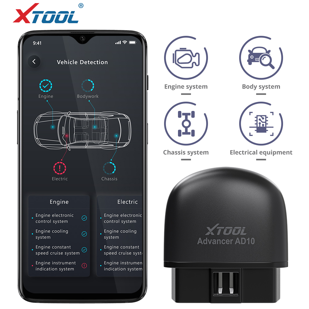 XTOOL AD10 OBD2 Diagnostic Scanner EOBD Bluetooth ELM 327 Code Reader Work with Android/IOS/Windows With HUD Head Up Display title=