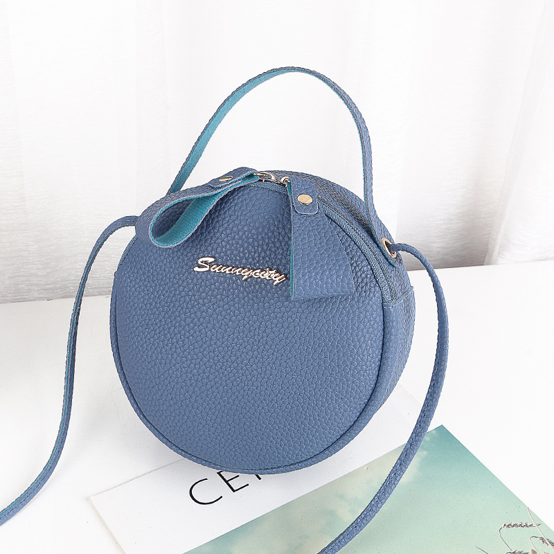 Small Round Handbag Portable New Women Version Cute Slant Straddle Single Shoulder Bag Handbags Pu Leather