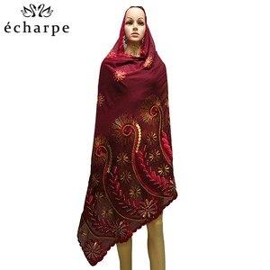 Image 5 - Шарф из 100% хлопка, женский шарф в африканском стиле, мусульманский шарф с цветочной вышивкой, шарф EC127