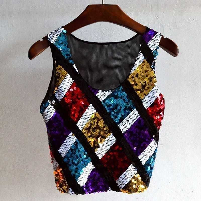 Fashion Musim Panas Wanita Warna-warni Tanpa Lengan Pendek Tank Top Mesh Patchwork Payet Plaid T-shirt Hip Hop Punk Seksi Kostum