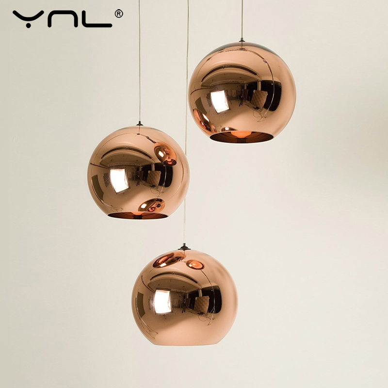 Modern Nordic Pendant Lights Globe Glass Ball Copper Hanging Lamp Industrial Decor Pendant Lamp Dining Kitchen Lighting Fixture
