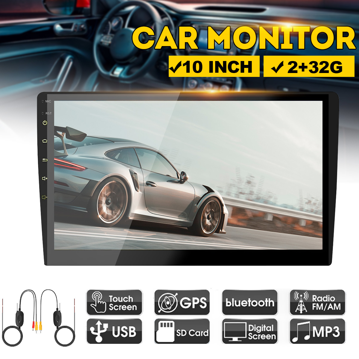 10 Inch Full HD 2+32G Car Multimedia Player 2 Din Android Car Stereo Radio Bluetooth WIFI Audio Stereo Car MP5 Player With GPS