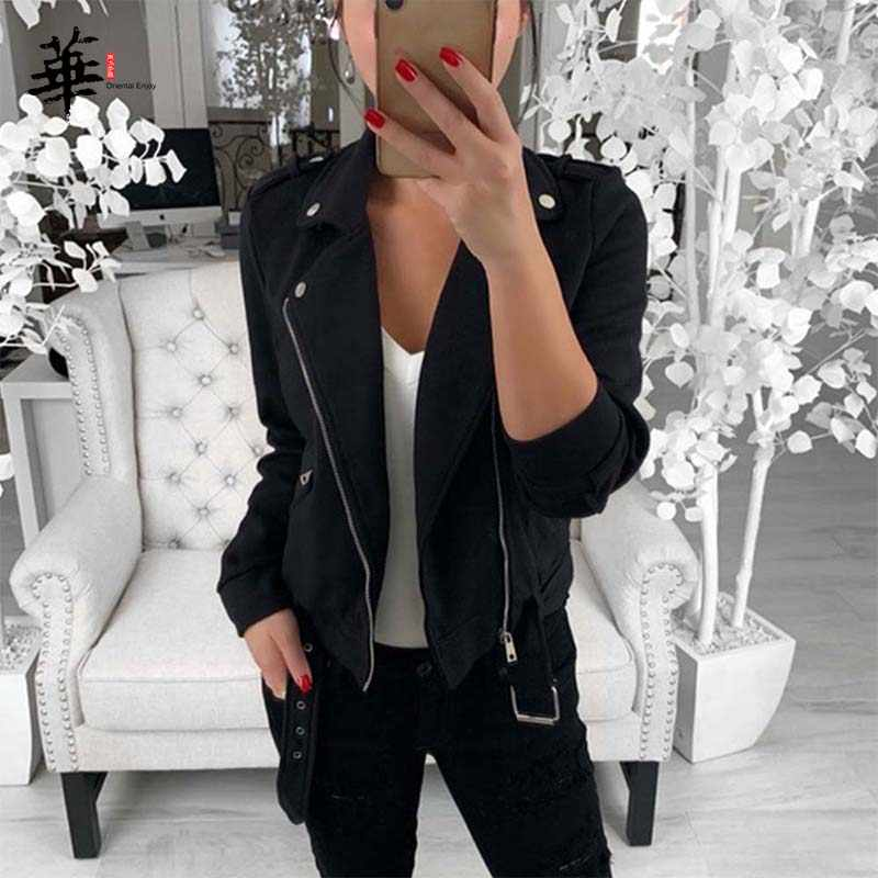 Black Zipper Casual Long Sleeve Solid Autumn Winter Ladies Jacket Womens Basic Jackets and Coats 2019 for Female Outwear Clothes