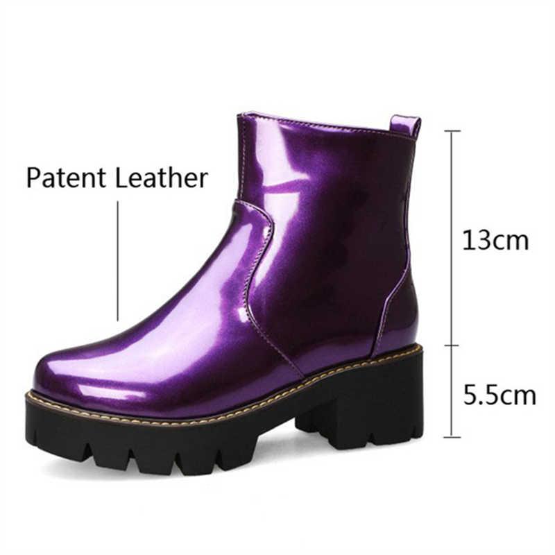 Mor Platformu Çizmeler Kadın Fermuarlı Rugan Sarı Moda Rahat Bayan Botları Ayak Bileği Yuvarlak Ayak Kış Kadın Ayakkabı Özlü