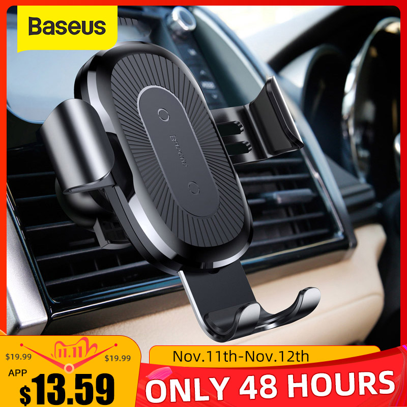Baseus Gravity Car Phone Holder 10W Fast Wireless Charging For Iphone Samsung Smartphone Support Air Outlet Auto Stand
