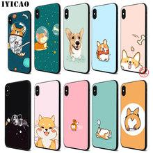 IYICAO Cartoon Cute Corgi Dog Soft Black Silicone Case for iPhone 11 Pro Xr Xs Max X or 10 8 7 6 6S Plus 5 5S SE стоимость