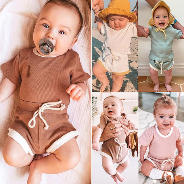 2Pcs Baby Clothes Summer Toddler Infant Girls Boys Clothes Cotton Casual Short Sleeve Tops T-shirt+Shorts Baby Outfit Set 1