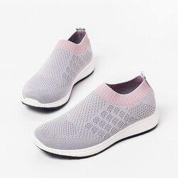 Летние женские кроссовки, дышащие сетчатые туфли без шнуровки на плоской подошве, женские лоферы, повседневная спортивная обувь, 2020