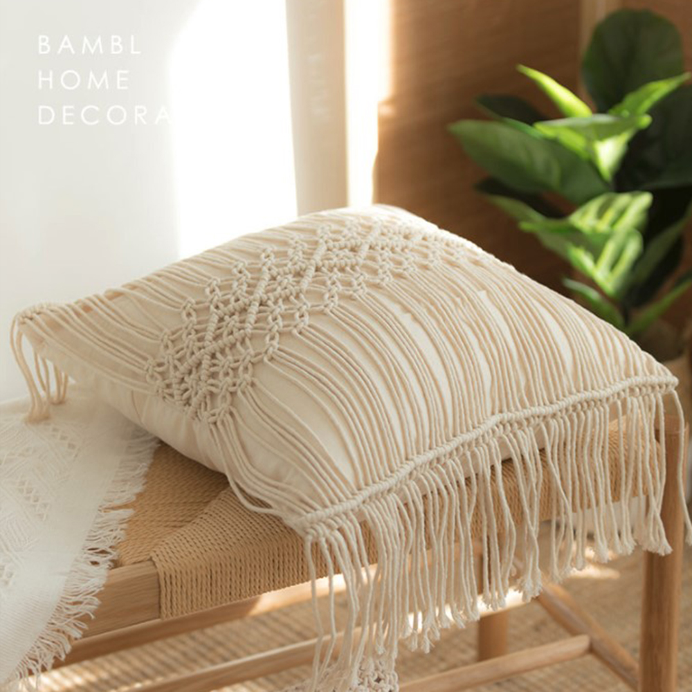Cushion Cover Square Macrame Hand-woven Cotton Thread Pillow Covers Cotton Linen Geometry Bohemia Style Pillowcase Home Decor