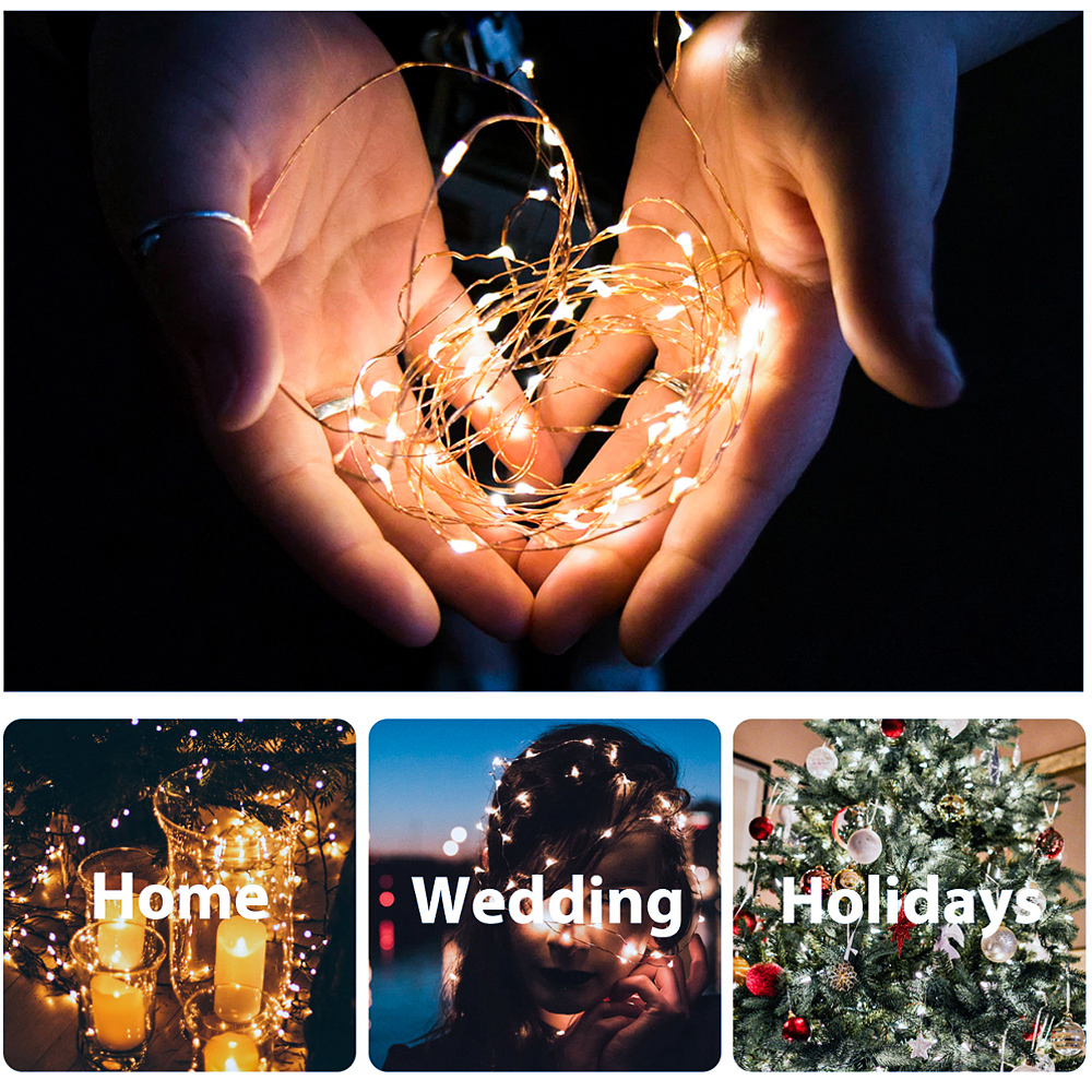 1/5/10/20m Outdoor LED String Lights Holiday New Year Fairy Garland For Christmas Tree Wedding Party Decoration