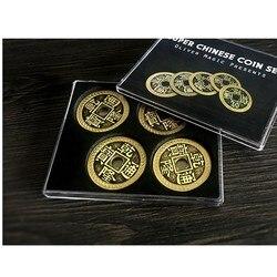 Супер китайский набор монет (Qianlong, Morgan Size) от Oliver Magic Illusion Close Up Magic Coin Matrix четыре монеты меняются мгновенно