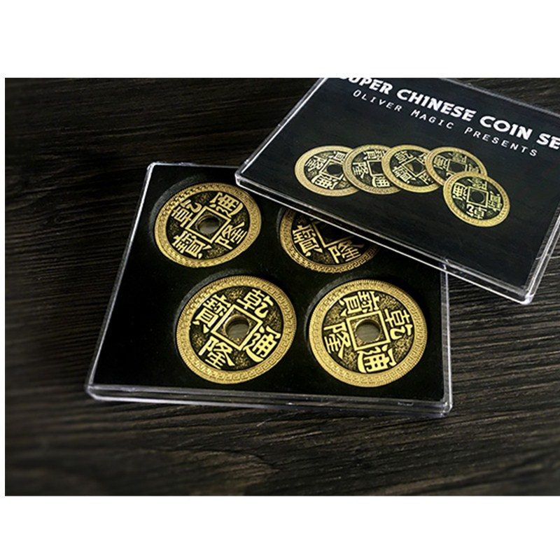 Super Chinese Coin Set (Qianlong, Morgan Size) By Oliver Magic Illusion Close Up Magic Coin Matrix Four Coins Change Instantly