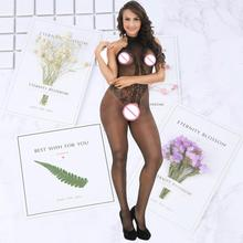 Black Bodystocking Fishnet transparent Mesh Bodysuit Sexy Leotard Sex Clothes Open Crotch Flower Hot Stocking