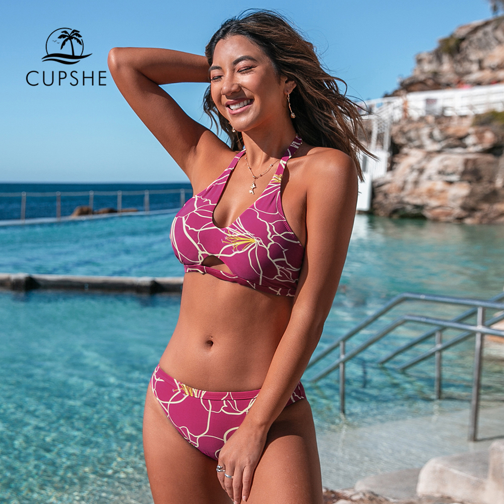 CUPSHE Purple Hibiscus Halter Bikini Sets Women Sexy Cut Out Low-waist Swimsuit Two Pieces Swimwear 2020 Beach Bathing Suits