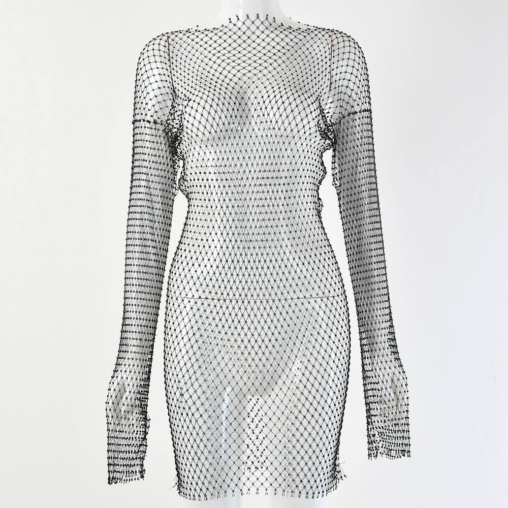 DIRTYLILY New Crystal Diamond Sexy Bodycon Dress Women Hollow Out Long Sleeve Mini Dress 2020 Summer  See Through Party Dress 6