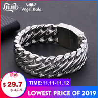 Buddha Bracelet with Logo Double Curb Cuban Chain Bracelet Mens 316L Stainless Steel Wristband Bangle Silver Tone 23mm