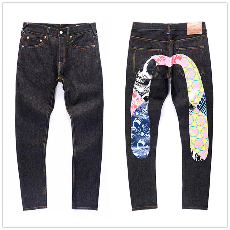 2020 New Evisu Top Quality Fashion Casual Hip Hop Men's Jeans Printing Authentic Autumn Winter Men's Breathable Straight Pants