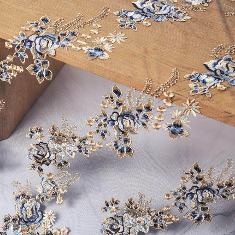 5 Yards Manufacturers Direct Chiffon Embroidery Fabric Gauze Wedding Dress Decoration Plant Leaves Lace Flower Mesh Fabric