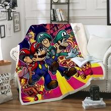 Super Mario Cartoon Blanket Design Flannel Fleece Blanket Printed Children Warm Bed Throw Blanket Kids Blanket style-2