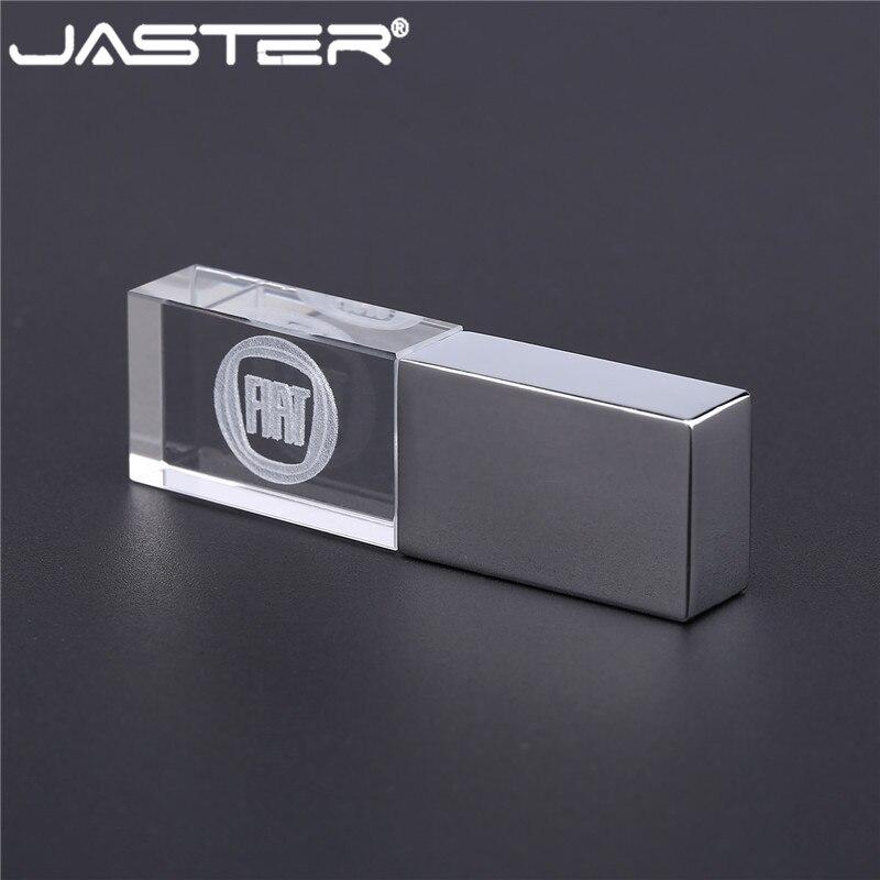 JASTER Fiat Crystal+metal USB Flash Drive Pendrive 4GB 8GB 16GB 32GB 64GB External Storage Memory Card U Disk USB 2.0