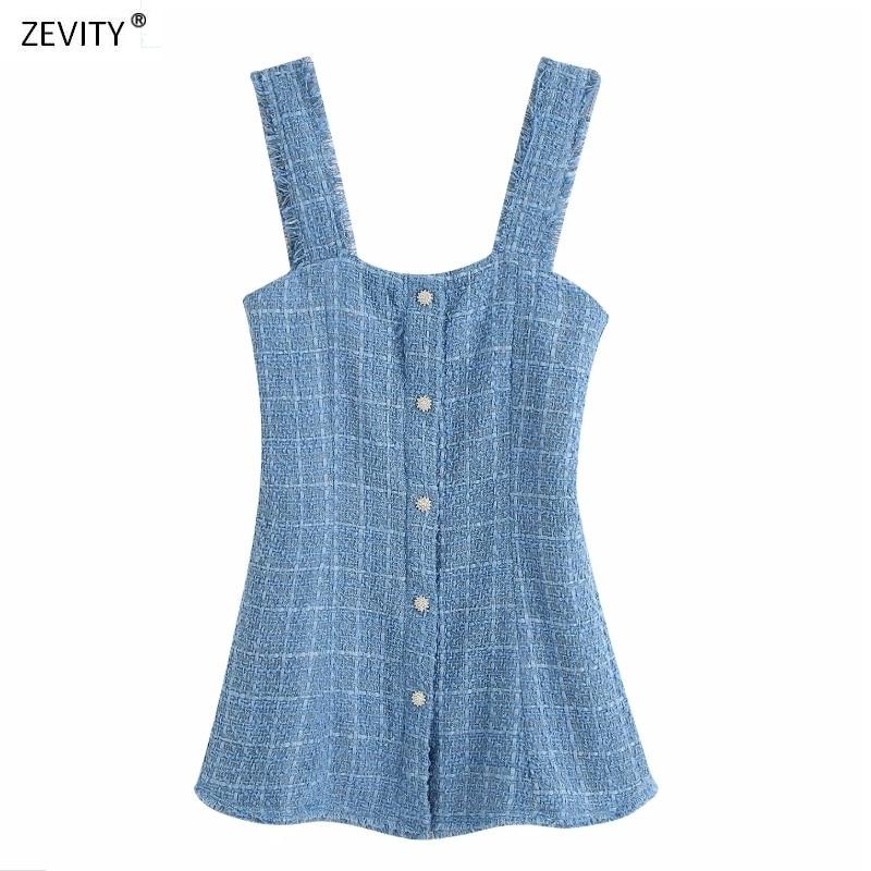 2020 women vintage plaid tweed woolen breasted sling dress ladies side zipper tassel vestidos chic casual A line dresses DS3949