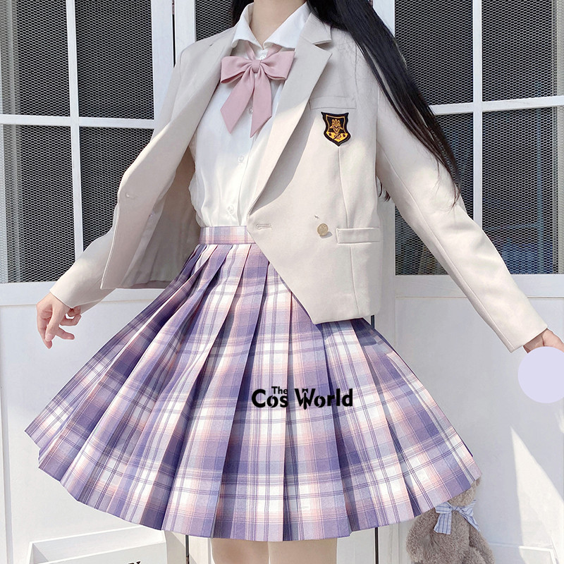 [Taro Cake] Girl's Summer High Waist Pleated Skirts Plaid Skirts Women Dress For JK School Uniform Students Cloths