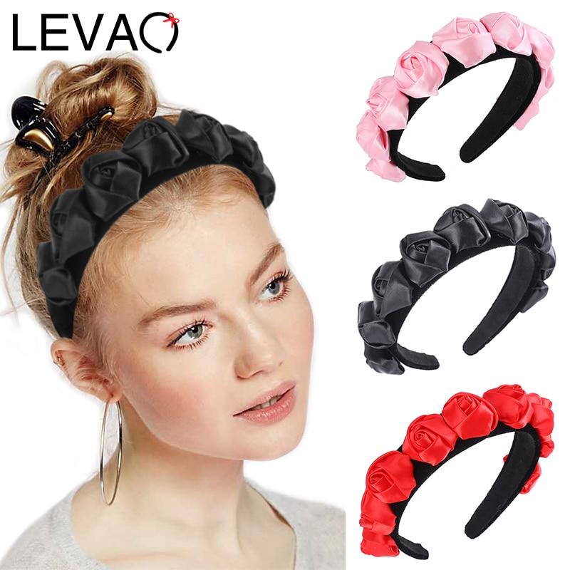 LEVAO Flower Bud Headband Synthetic Leather Hairbands Bezel Turban For Women Girls Hair Accessories Hair Band Head Hoop Headwear
