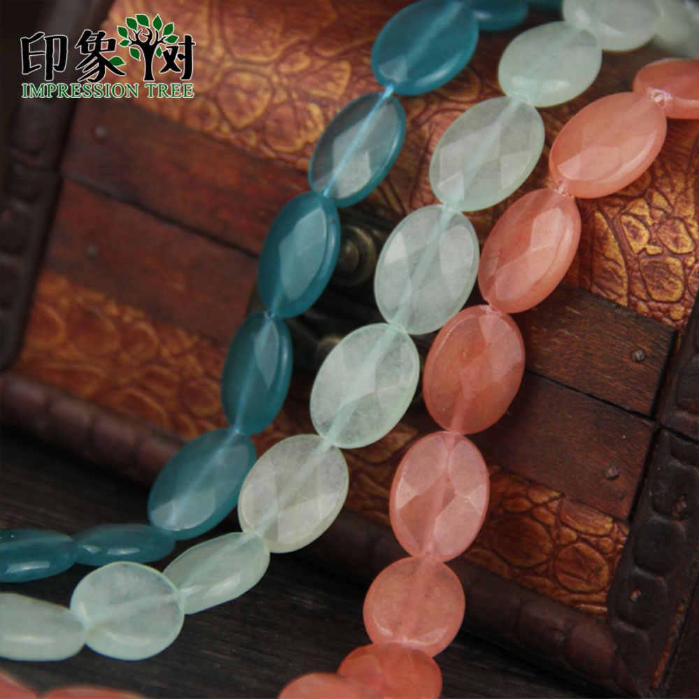 天然宝石ファセットオーバルビーズ 1 個 13 × 18 ミリメートルグリーンアクアピンクオーバルファセット翡翠ビーズフィットネックレス diy のジュエリーメイキングのため 1839