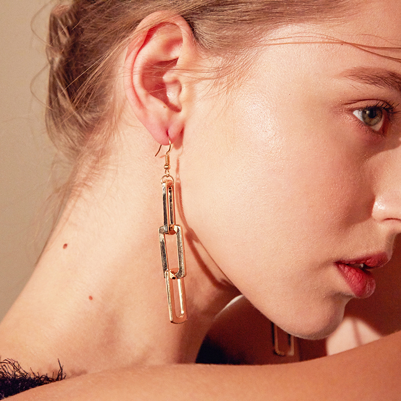 Western Style Exaggeration Fashion Ear Stud Rectangular Chains Korean Earrings For Women Cool Simple Geometry Ear Stud Jewelry