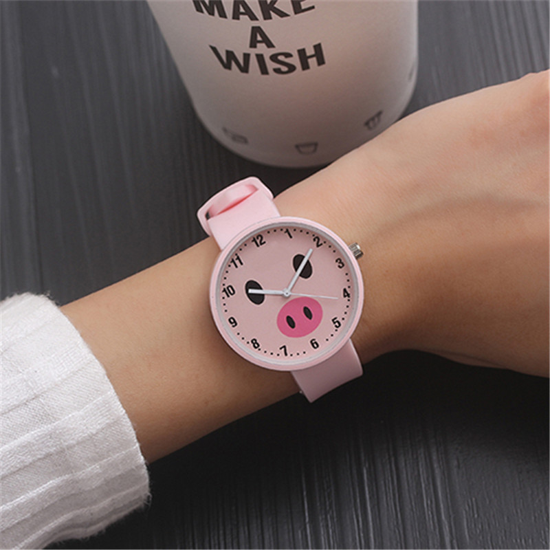 Cartoon Watch Cute Pink Pig Childrens Watches Soft Safety Silicone Clock Fashion Kids Boy Girl Hour Waterproof Child Date XX3055
