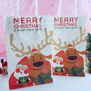 Image 2 - 6 sztuk/partia wesołych świąt bożego narodzenia torby papierowe z papieru pakowego Christmas Party nowy rok dekoracje świąteczne na prezenty z papieru Goodie torby do pakowania Dropship