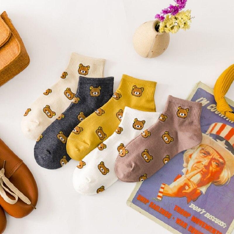 Spring And Summer New Cartoon Socks Women's Cotton Socks Japanese Sweet Cute Bear Boat Socks Wholesale